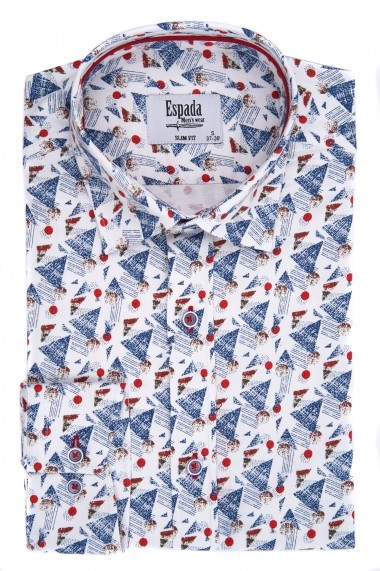 Camasa Espada slim fit imprimeu forme geometrice albastre-rosii