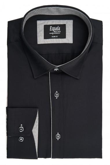 Camasa ESPADA MEN`S WEAR eleganta slim fit uni neagra cu dunga