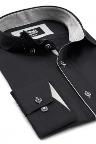 Camasa Espada eleganta slim fit uni neagra cu dunga