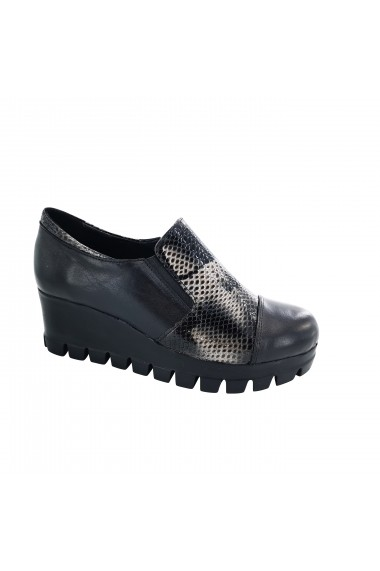 Pantofi cu toc piele naturala dama Torino, 011216 negru cu gri