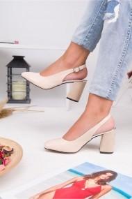 Pantofi cu toc AWON 5319KRR crem