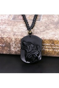 Medalion MBrands Dog Tag din piatra neagra Obsidian cu lup