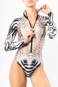 Costum de baie cu maneca lunga Scuba Zebra Snake Nude Motivate Store