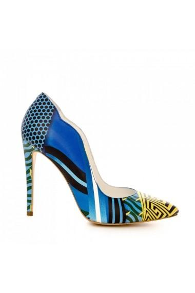 Pantofi cu toc CONDUR by alexandru 1501 albastru