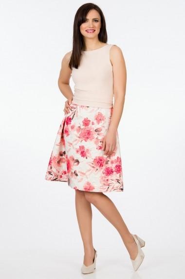 Rochie de zi Sense Dorothy crem+roz