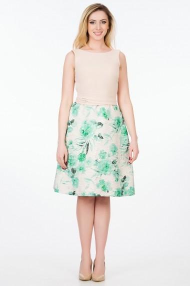Rochie de zi Sense Dorothy crem+verde