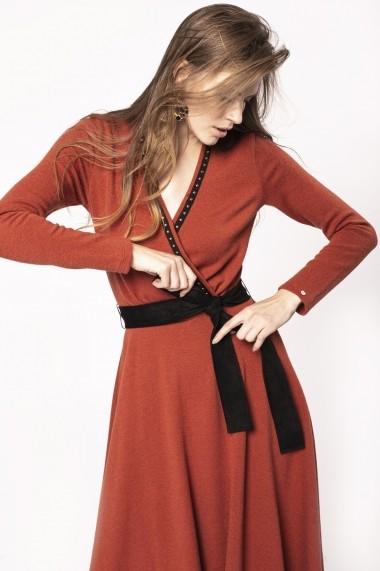 Rochie NISSA din jerse cu cordon in contrast Orange