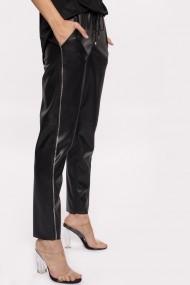 Pantaloni drepti NISSA din piele cu detaliu lateral Negru