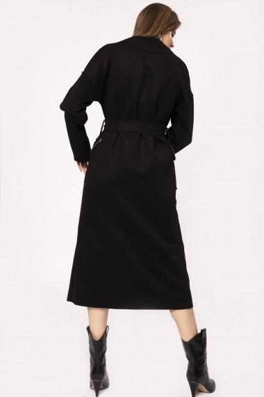 Palton NISSA din lana cu bordura din pietre de sticla Negru