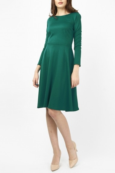 Rochie midi din jerse bumbac - Dark Green - Sweet Rose of Mine verde turcoaz