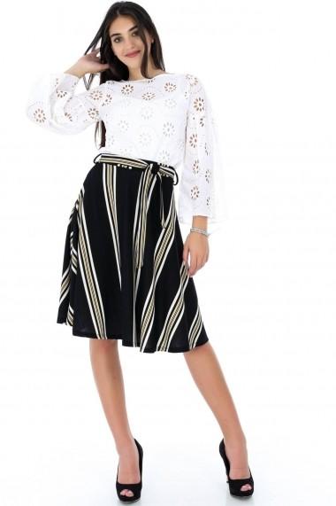 Fusta evazata Roh Boutique - FR390 negru|multicolor One Size