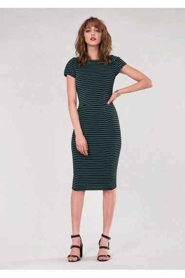 Teal Roh Boutique Bodycon Pleated Sleeve Dress - ROH - DR3916 blk/turq