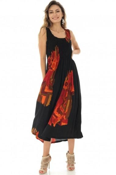 Rochie Roh Boutique Blk/Orange fara maneci, ROH - DR3896 blk/orange