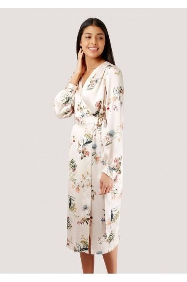 Rochie Roh Boutique Crem, Petrecuta cu Imprimeu Floral si Maneci Lungi, ROH - DR3883 crem