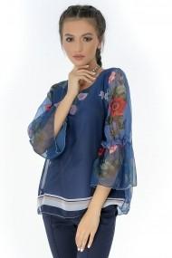Bluza Roh Boutique bleumarin, ROH, din voal - BR1830 bleumarin