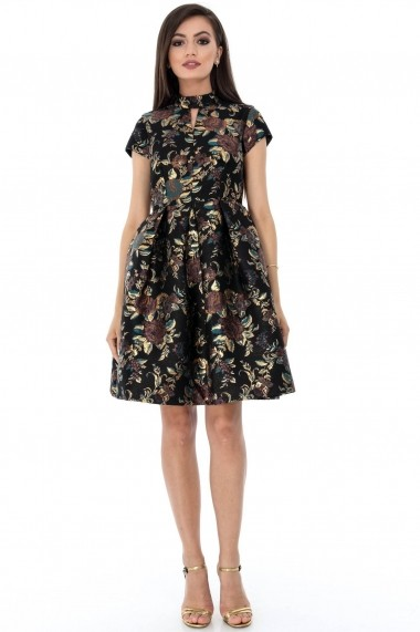 Rochie de seara Roh Boutique neagra, ROH, eleganta - DR3396 negru|auriu