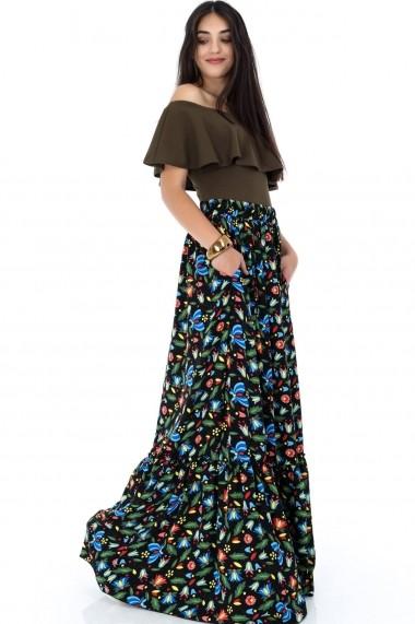 Fusta lunga Roh Boutique - FR388 negru|multicolor