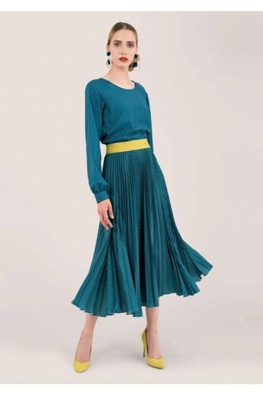 Fusta Roh Boutique albastra, midi, plisata - ROH - FR454 teal