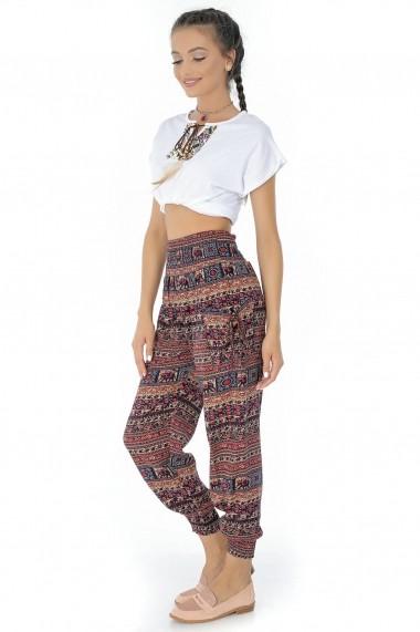 Pantaloni largi Roh Boutique - TR264 maro multicolor