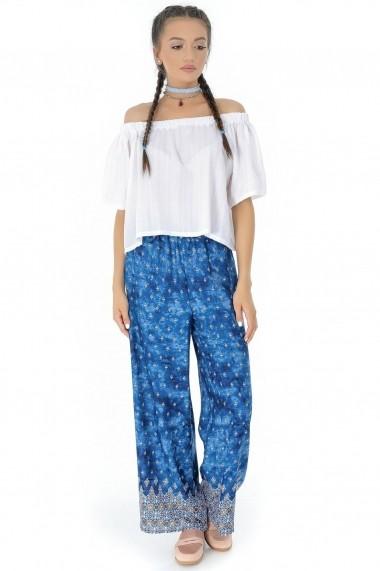 Pantaloni largi Roh Boutique ROH-7320 - TR266 albastru multicolor