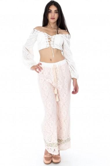 Pantaloni largi Roh Boutique ROH-7389 - TR279 piersica