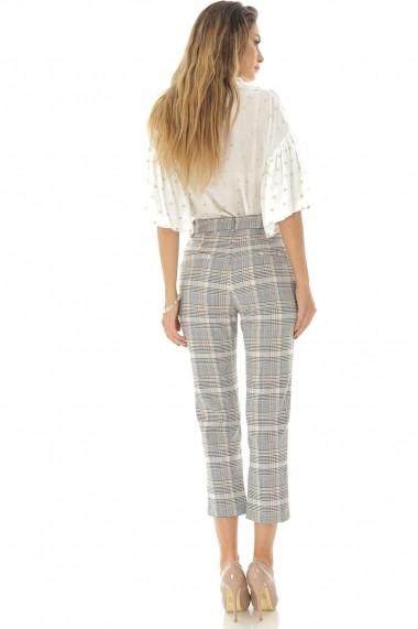 Pantaloni trei sferturi Roh Boutique conici, in carouri, ROH - TR321 gri