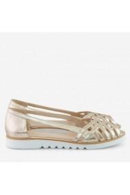 Sandale cu talpa joasa din piele naturala aurie   Afternoon Dianemarie S125 au