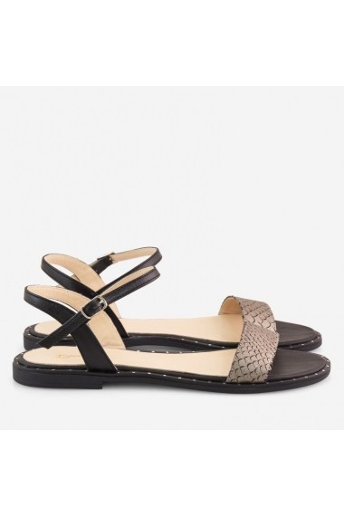 ... Sandale negre cu talpa joasa din piele naturala Luetta Dianemarie S22 ng 6cfeb4651e