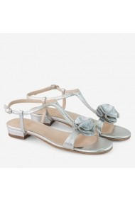 Sandale dama argintii din piele naturala decorate cu   pampon Tiffany Dianemarie S09
