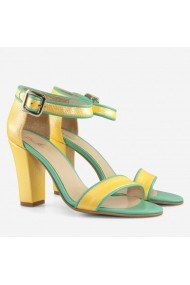 Sandale cu toc din piele naturala galben cu turqoise   Lizette Dianemarie S41 gt