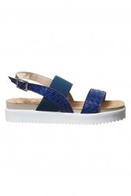 sandale Rammi albastru marinaresc din piele naturala