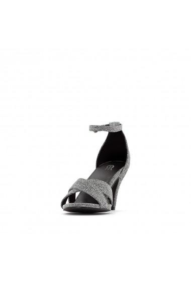 Sandale cu toc La Redoute Collections GEZ122 argintiu