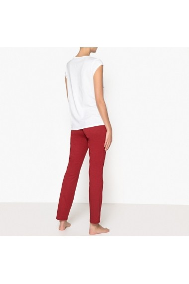 Pijama La Redoute Collections GET434-white-burgundy Alb