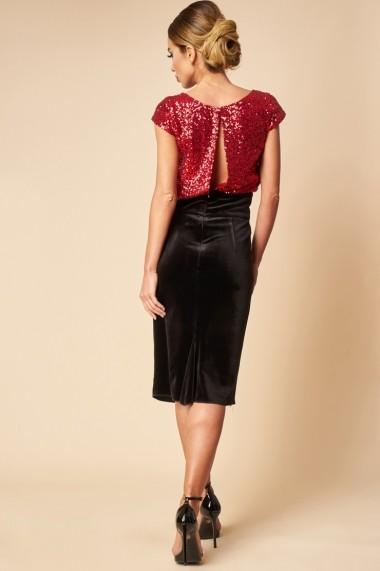 Rochie de ocazie cu paiete rosii si fusta de catifea