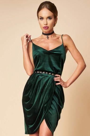 Rochie de catifea verde Lalea