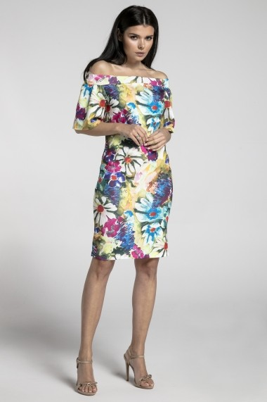 Rochie NAOKO GLB-AT183 PAINTED FLOWERS Multicolor