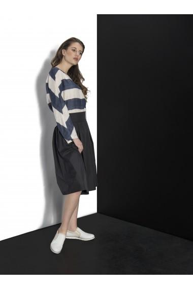 Fusta Couture de Marie din tafta cu pliuri asimetrice Black Touch