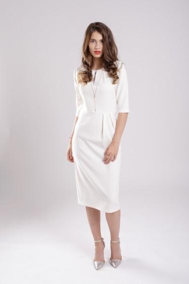 Rochie Couture de Marie conica cu pliuri White Dress