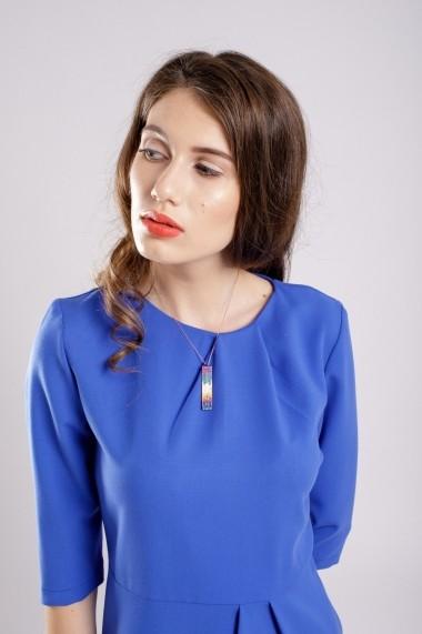 Rochie Couture de Marie conica cu pliuri Blue Dress