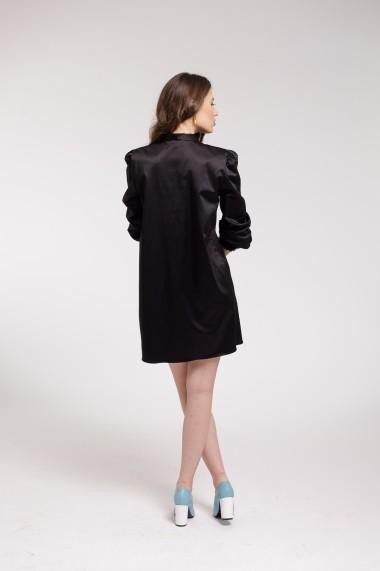 Rochie de cocktail Couture de Marie neagra din bumbac satinat cu esarfa