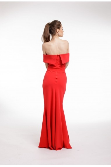 Rochie de seara Couture de Marie rosie cu volan supradimensionat