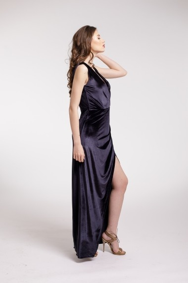 Rochie de seara Couture de Marie lunga din catifea gri inchis si slit frontal