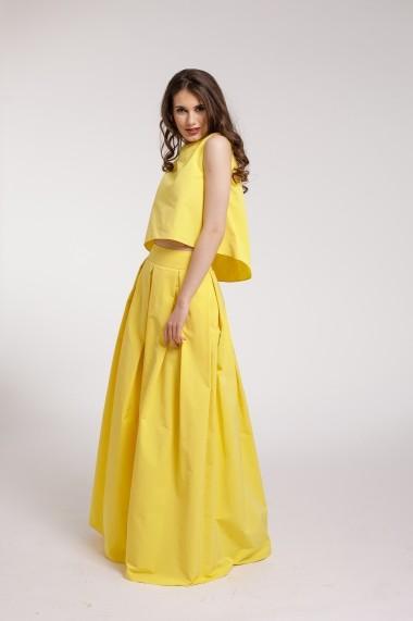 Rochie de seara Couture de Marie maxi 2 piese din tafta galbena