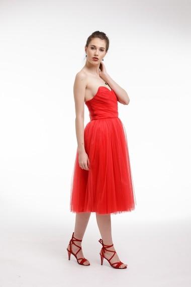 Rochie de cocktail Couture de Marie din tulle si corset fronsat manual