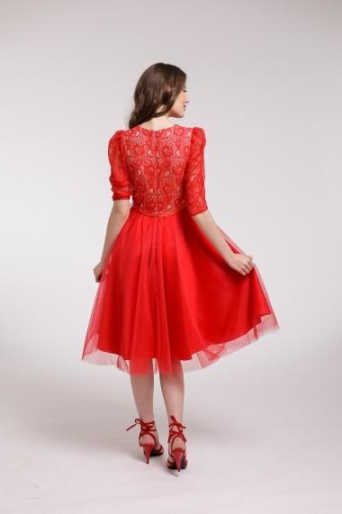 2255527008 ... Rochie de cocktail Couture de Marie din tulle si bust din dantela rosie