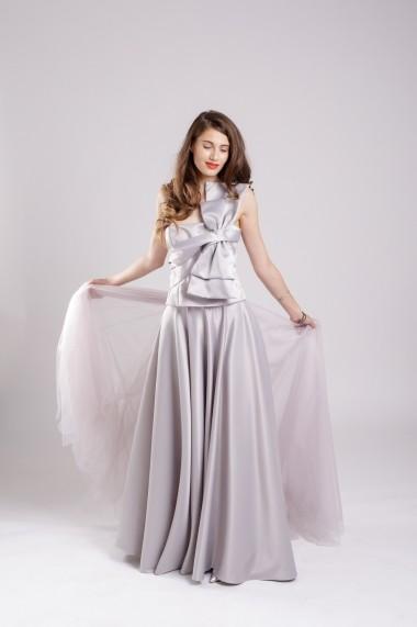 Fusta Couture de Marie maxi din tafta gri Grey Mood
