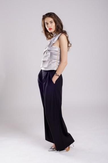 Pantaloni palazzo Couture de Marie negru din lana subtire