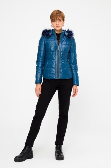 Jacheta din piele Deri Company BD00312 Albastra