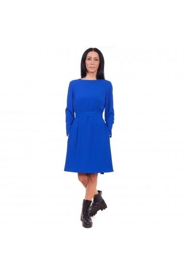 Rochie midi evazata Maruca cu maneca lunga vascoza albastra