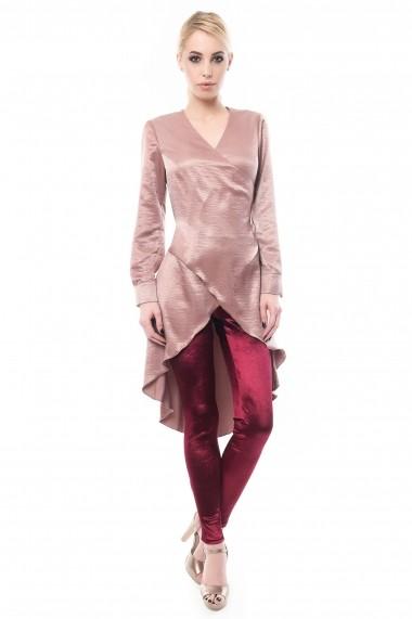 Bluza lunga Maruca petrecuta din material satinat roz inchis